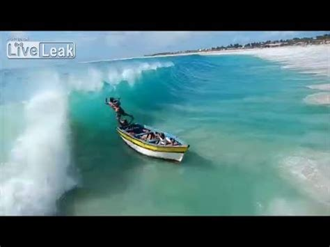 big waves boat video small boat gets smashed by hard waves youtube