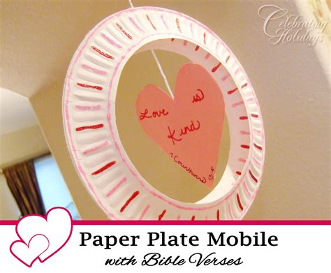 Paper Plate Bible Crafts - paper plate mobile craft with a bible verse celebrating