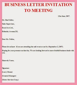 Business Letter Example For Invitation how to write a business invitation letter sample cover