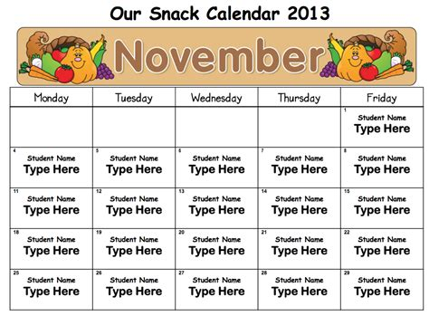 snack calendar template menu cycle 1 bmp images frompo