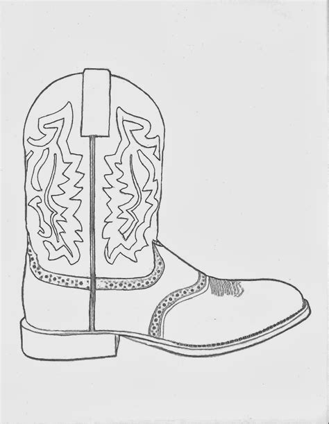 Western Coloring Pages Drawing Of A Cowboy Boot Printable