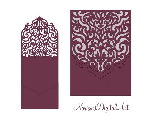 cricut card templates wedding invitation pocket envelope half fold card svg