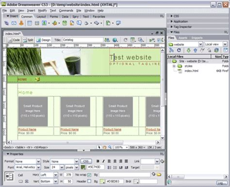 design website using html javascript insert a dreamweaver navigation to many pages using library