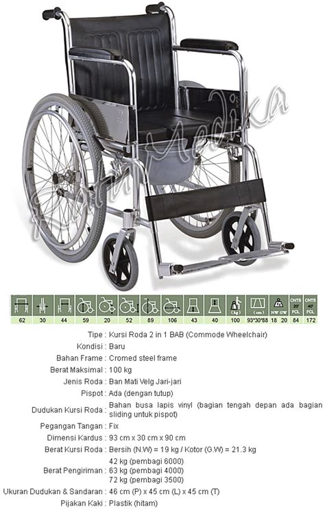 Kursi Roda Toilet kursi roda murah 2 in 1 commode wheel chair kursi roda