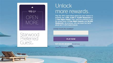 Daily Sweepstakes Online - win free nights and starpoints with the spg open more game