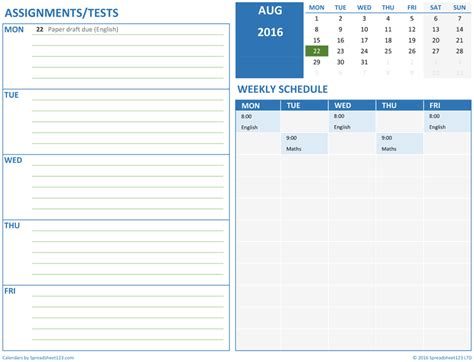 Printable Monthly Student Schedule For Excel Excel Student Schedule Template Help