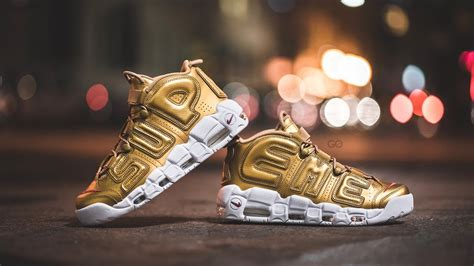 Nike Uptempo X Supreme Gold Premium review on nike x supreme air more uptempo quot metallic gold quot