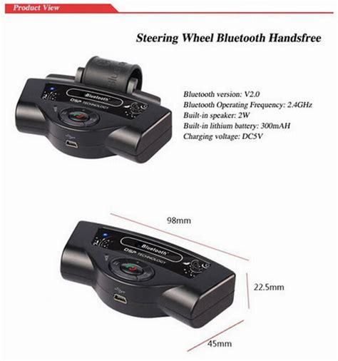 Portable Steering Wheel Bluetooth Phone Car Kit Bt8109 portable parrot steering wheel auto bluetooth receiver car kits free for mobile