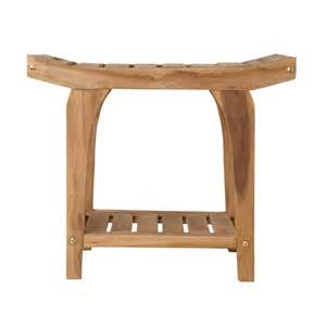 teak rectangular shower stool with handles bathroom