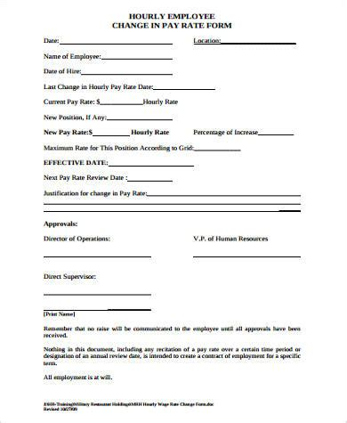employee rate sle employee change form 11 exles in word pdf