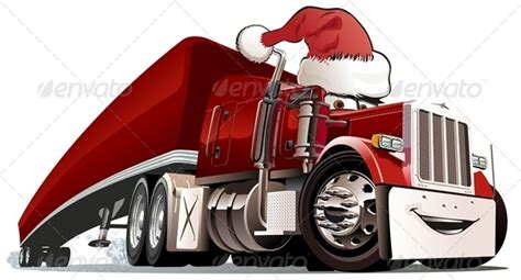cartoon christmas cargo truck  mechanik graphicriver