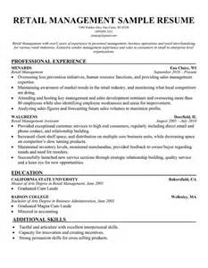 Retail Manager Resume Sles by Cv Writing Retail Manager