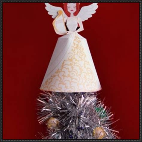 Printable Paper Angel Tree Topper | angel christmas tree topper free papercraft download