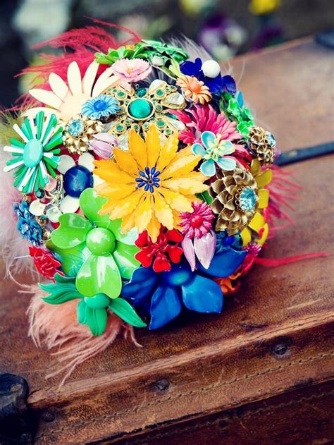 Wedding Bouquet Vintage Brooches by New Neon Fall Vintage Inspired Bridal Bouquet With