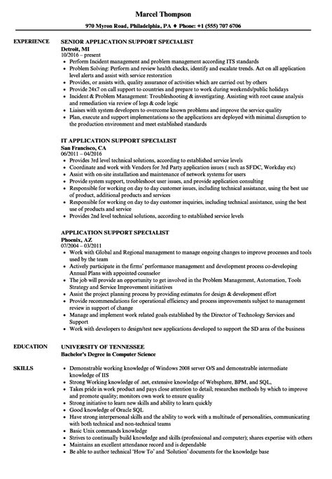 application support specialist resume sles velvet