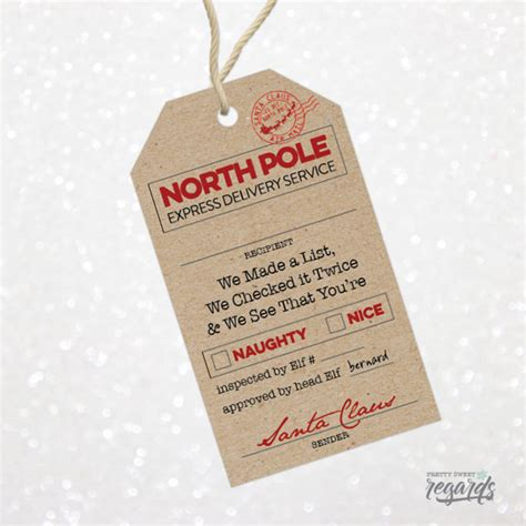 printable gift tags from the north pole santa present tags christmas santa gift tags printable