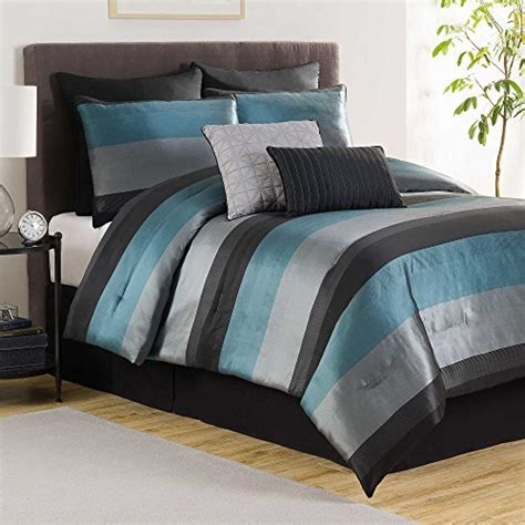 aqua and grey bedding hudson elegant luxury striped quilted patchwork jacquard