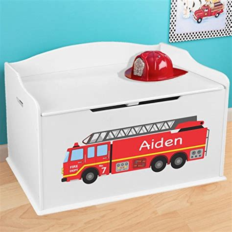 fire truck toy box and storage bench personalized firetruck design toy box white