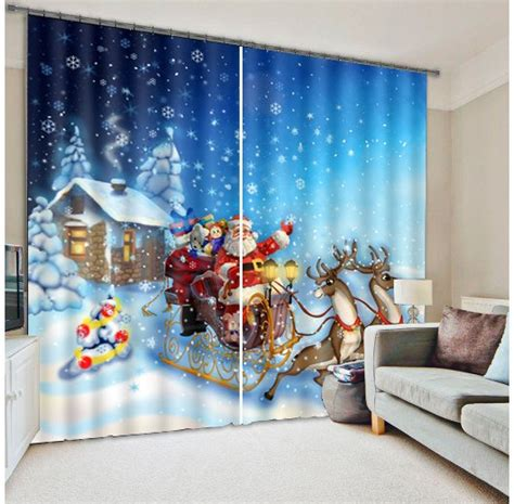 lovely santa claus  white snow christmas scene printed custom living room curtain