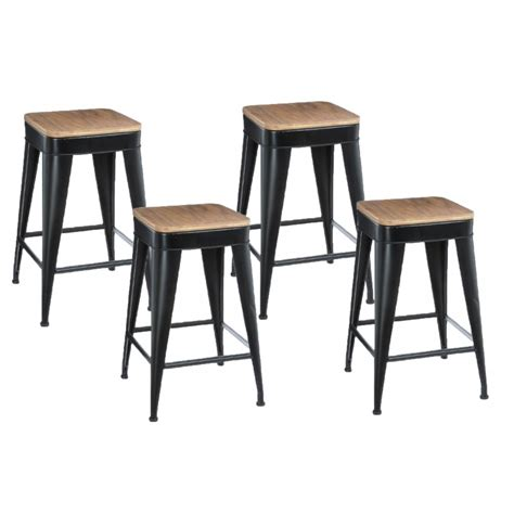 Lot De 4 Tabourets De Bar by Lot De 4 Tabourets De Bar Quot Joris Quot 60cm Noir