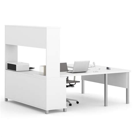 White U Shaped Desk Bestar Pro Linea U Shaped Computer Desk With Hutch In White 120860 17