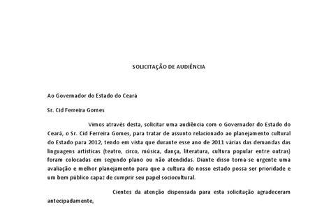 carta formal de pedido de audiencia movimento todo teatro 233 pol 237 tico carta de solicita 199 195 o de audi 202 ncia sr cid gomes