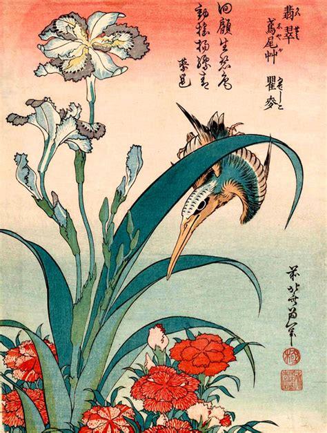 japanse tekeningen bloemen japanse vogels bloemen kunst wordt afgedrukt ijsvogel en iris