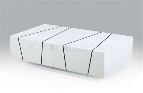 h127 coffee table in white lacquer by j m w 2 drawers