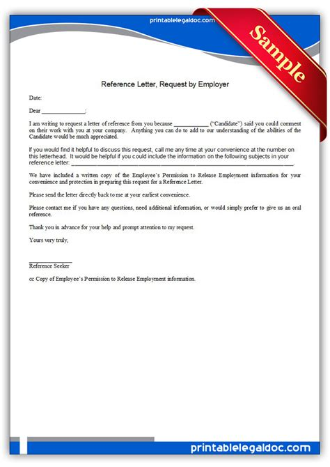 Reference Request Letter From New Employer Free Printable Reference Letter Request By Employer Form Generic
