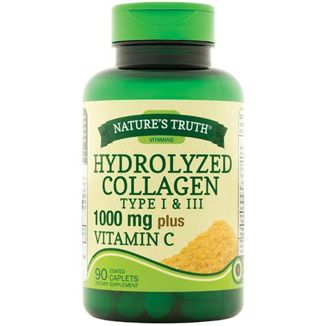 Collagen Vitamin C nature s hydrolyzed collagen type i iii 1000 mg