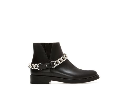 zara flat leather ankle boot with chain detail in black lyst