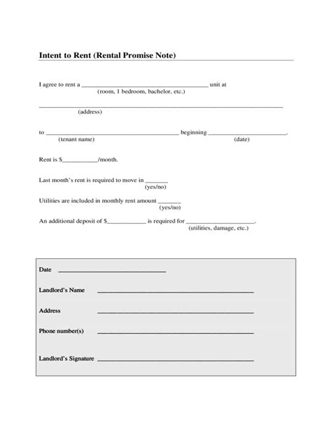 Free Room Rental Agreement Template intent to rent sample form free download