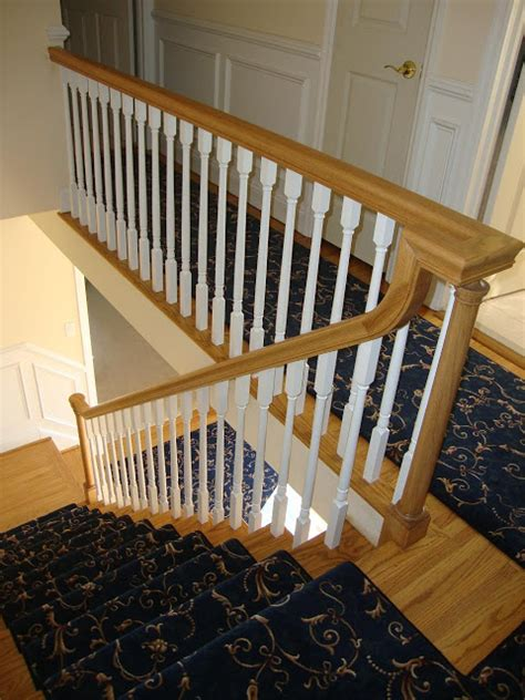 new banister and spindles wood stairs and rails and iron balusters new handrail