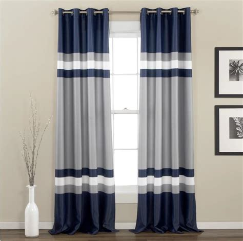 blue grey striped curtains modern navy blue gray white color black stripe grommet
