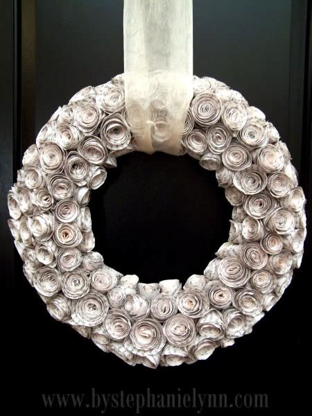 rolled paper flower wreath tutorial big ideas and a little inspiration paper rose wreath