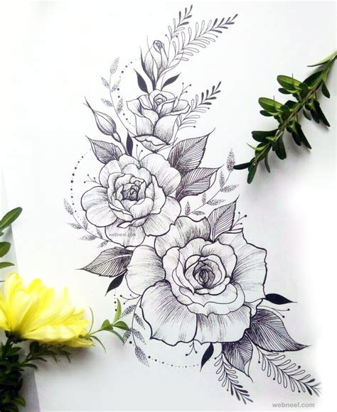 Sketches Flowers by 45 Beautiful Flower Drawings And Realistic Color Pencil