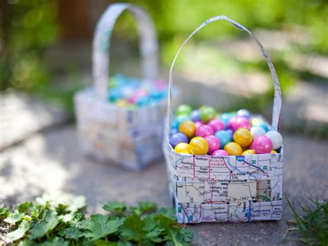 Make An Easter Basket From Paper - how to make a woven map easter basket hgtv