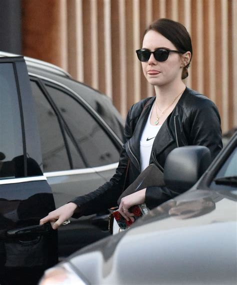 emma stone latest movie emma stone leaving meche salon with a dark new hair for