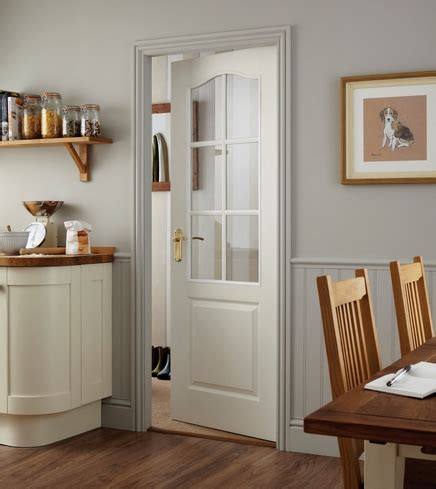 White Half Glass Interior Doors Arched Top Grained 6 Light Glazed Door Moulded Panel Doors Doors Joinery