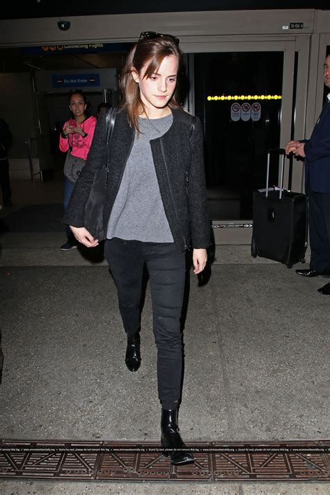 emma watson style emma watson street style arriving at lax airport in los
