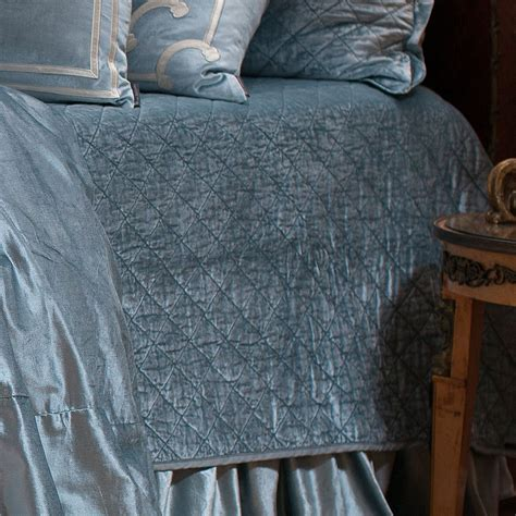 Blue Coverlet Lili Alessandra Quilted Blue Velvet Coverlet