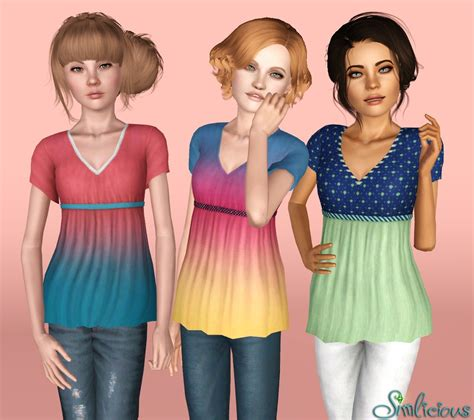sims 3 teen clothes mod the sims long v neck babydoll tee for teens and