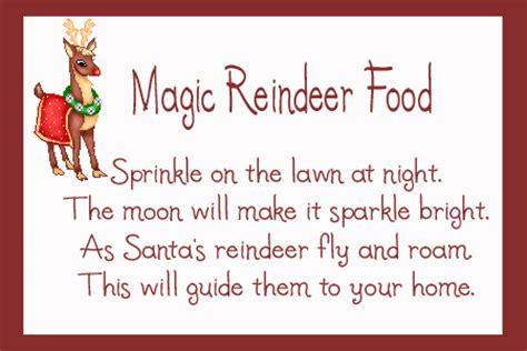 printable magic reindeer poem magic reindeer food recipe preschool crafts for kids