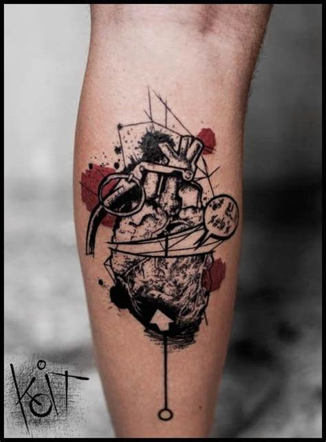 new school grenade tattoo new school style colored leg tattoo of grenade made from