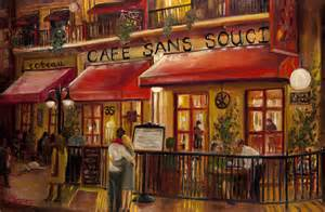 Modern Mural Wall Art cafe sans souci painting by sheila kinsey