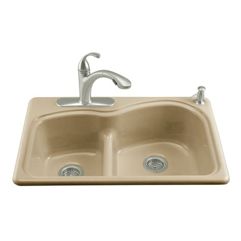 enamel kitchen sinks shop kohler woodfield double basin drop in enameled cast