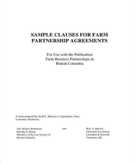 farm partnership agreement template 5 real estate partnership agreement templates pdf word