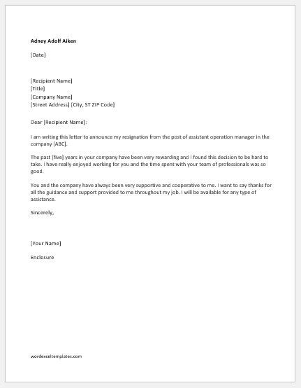 Resignation Letter Without Reason immediate resignation letters with without reason word