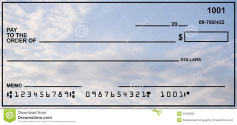 Check Your Own Background Blank Personal Check With Blue Sky Stock Photo Image