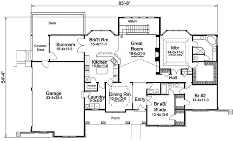 sunroom floor plans atrium ranch home plan with sunroom 57155ha